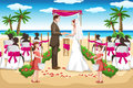 Vector illustration couple wedding beach Stock Images