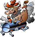 Vector illustration of an Cow riding a BBQ barrel