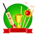 Vector illustration cricket kit trophy Stock Image