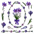 Vector illustration of crocus tangle in shape of egg with endless horizontal brush