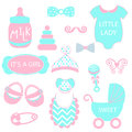 A vector illustration of cute baby girl icons like nappy pins, pacifier and baby toys. pink and turquoise silhouette