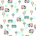 Vector illustration of the cute bus, car with the funny faces seamless pattern. Trendy Kawaii emoticons for print