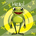Vector illustration of cartoon frog. Hello. Royalty Free Stock Photo
