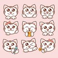 Vector illustration cute cats icons set. Sweet kittens stickers in flat style.