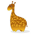Vector illustration of cute cheesy giraffe cartoon friendly with tracery Royalty Free Stock Images