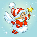 Vector illustration cute Christmas angel character. Greeting card Royalty Free Stock Photo
