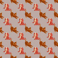 Vector illustration cute dogs characters seamless pattern purebred puppy comic smile happy mammal breed