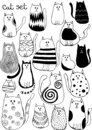 Vector illustration with cute doodle cats. Outline animal art