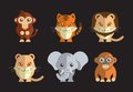 Vector illustration of a cute exotic wild animals on a dark background