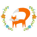 Vector illustration of cute fox and flowers in cartoon style.