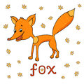 Vector illustration of cute fox, traces of animals around and word fox Royalty Free Stock Photo