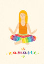 Vector illustration of a cute Girl Practicing Yoga. lotus meditative pose. Template for design cards, notebook.