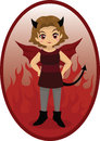 Vector illustration of a cute little devil girl Royalty Free Stock Images