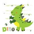 Vector illustration with cute little dinosaur