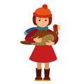 Vector illustration cute little girl holding a big turkey isolated on white background for Happy Thanksgiving Day celebrations. Royalty Free Stock Photo