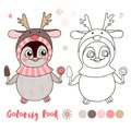 Vector illustration of cute little penguin is wearing a deer hat Royalty Free Stock Photo