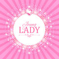 Vector illustration. Cute Pink Banner for Princess, Glamour and Baby Girl Design. Shining Retro on Burst Background. Royalty Free Stock Photo