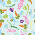 Vector illustration cute seamless background with Easter bunnies and eggs.