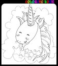 stock image of  Cute unicorn flying in the night sky. Black and white coloring book page.