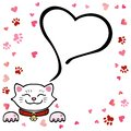 Vector illustration, cute white cat with heart and space for text.