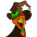 Vector illustration of a cute witch in big hat. Cartoon Halloween character Royalty Free Stock Photo