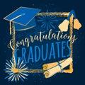 Vector illustration on dark background congratulations graduates 2016 class of, color design for the graduation party