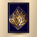 Vector illustration. Dark blue banner with a golden pattern. Pos
