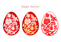Vector illustration of decorated Easter eggs set on white background.