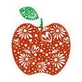 Vector illustration of decorative ornamental red apple with leaf, isolated on the white background.