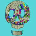Vector illustration decorative skull head in doodle style Royalty Free Stock Photo