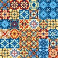 Vector illustration of decorative tile mosaic pattern design in Moroccan style.