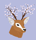 Vector illustration of deer with flowerinf horns Stock Photo