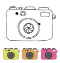 Vector illustration of detailed isolated icons of camera in retro style linear drawn image Royalty Free Stock Images