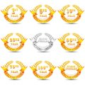 Vector illustration of different anniversary celebration badge Stock Photo