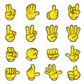 Vector illustration of different hand gestures cartoon style