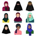 Vector illustration of different muslim arab women characters in hijab icons set. Islamic saudi arabic ethnic women in