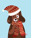 Vector illustration of a dog in a hat and scarf. Stylized happy dog in winter. Christmas illustration for a postcard