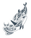 Vector illustration of dolphins in tribal drawing style Royalty Free Stock Images