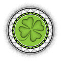 Vector illustration with dotted lucky four leaf clover or shamrock and round mandala in black and green isolated on white.