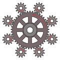 Vector illustration of the driver gear and driven gears Royalty Free Stock Photo