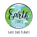 Vector illustration of `Earth day` lettering Royalty Free Stock Photo