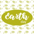 Earth day poster on green leafs background