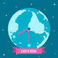Vector illustration for Earth Hour. Picture a clock with hands among the stars. Royalty Free Stock Photo