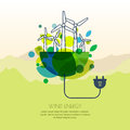 Vector illustration of earth with wind turbines, and wire plug. Royalty Free Stock Photo
