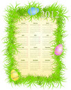Vector illustration of Easter calendar 2012 Stock Image