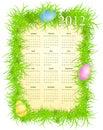 Vector illustration of Easter calendar 2012 Stock Image