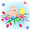 Vector illustration of easter card with a bunny, a chicken and butterflies Royalty Free Stock Photo