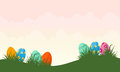 Vector illustration of easter egg on hill landscape