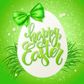 Vector illustration of easter greetings card with lettering - happy easter, spring grass, big egg and ribbon bow