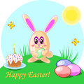 Vector illustration of easter rabbit eggs and cake. Holliday card